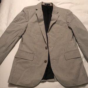 J Crew blue seersucker jacket, size 38S
